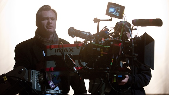 The Dark Knight Rises director Christopher Nolan with an IMAX Camera