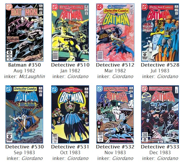 Batman and Detective Comics covers by the late Gene Colan, DC Comics