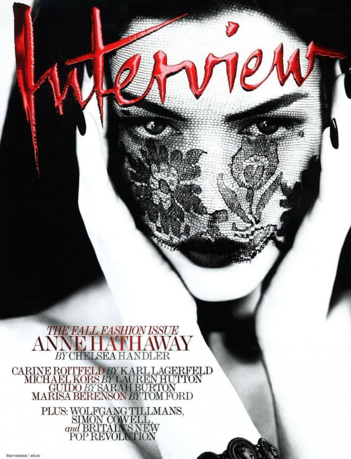 Anne Hathaway, Selina Kyle/Catoman in Christopher Nolan's The Dark Knight, cover of Interview