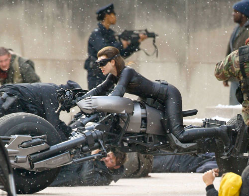 Action shot: Anne Hathaway as Selina Kyle/Catwoman filming The Dark Knight Rises in Pittsburgh
