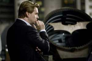 Christopher Nolan on the set of The Dark Knight at the Bat Signal