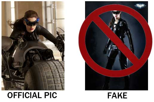 Fake catwoman costume and the official release from warner brothers anne hathaway as selina kyle on a batpod