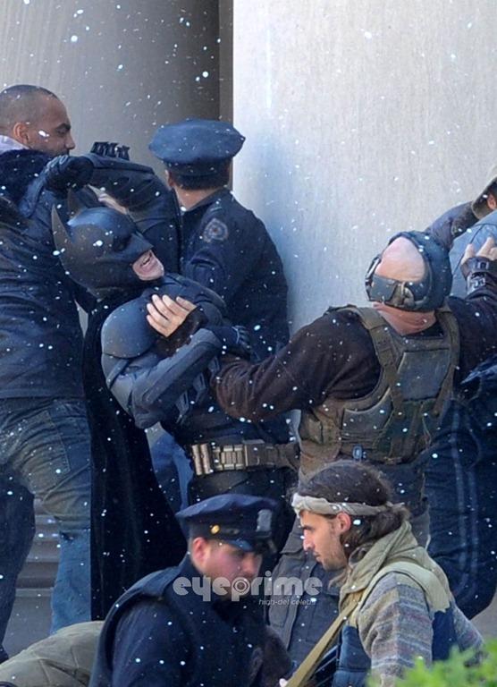The Dark Knight Rises location photo: Christian Bale as Batman, Tom Hardy as Bane: FIGHT!