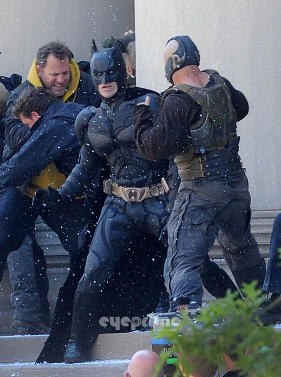 The Dark Knight Rises: Batman in the Batsuit, on set at the location shooting in Pittsburgh