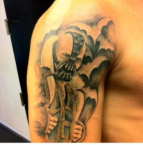 Tom Hardy's Bane from The Dark Knight Risesas tattoo art