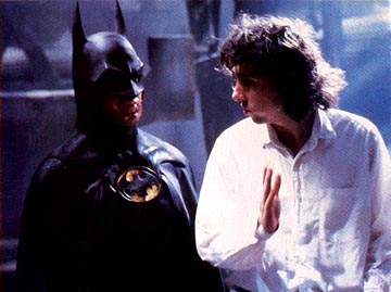 Tim Burton and Michael Keaton (Batman/Bruce Wayne) on the set of the 1989 Batman