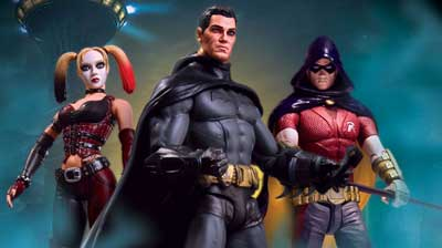 Batman Arkham City Action Figures: Bruce Wayne, Robin, Harley Quinn