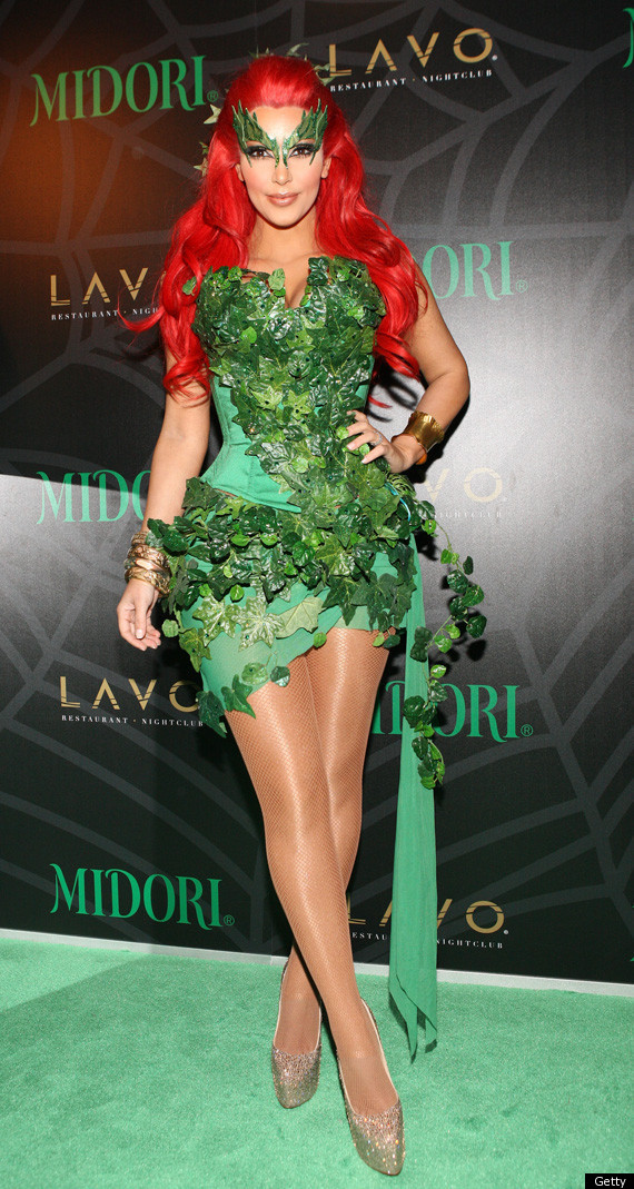 Kim Kardashian as the Uma Thurman Poison Ivy from Batman and Robin, Halloween 2011