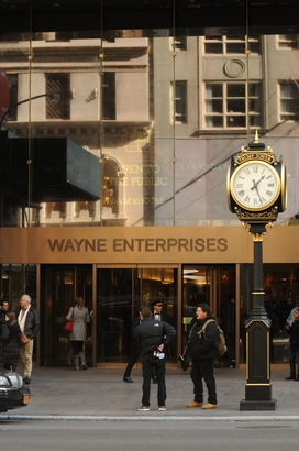 Entrance to Wayne Enterprises on Fifth Avenue in Manhattan in The Dark Knight Rises